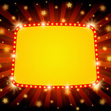 Shining retro light banner on red background. Vector illustration Royalty Free Stock Images
