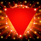 Shining retro light banner on red background. Vector illustration Royalty Free Stock Image
