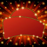 Shining retro light banner on red background. Vector illustration Stock Photography