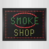 Shining retro light banner of smoke a shop on a black background Royalty Free Stock Image