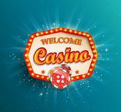 Shining retro light frame Casino. Shining retro light frame , vector illustration on a casino theme with lighting display and welcome text on blue background royalty free illustration
