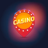 Shining retro light frame,  illustration on a casino theme with lighting display on dark background. Stock Image