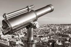 Shining retro metal telescope in Paris Royalty Free Stock Image
