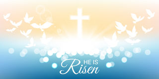 Shining and  He is risen text for Easter day. Shining and  birds flying with He is risen text for Easter day Stock Images