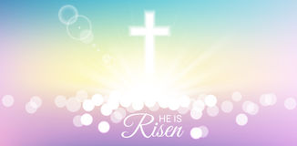 Shining with He is risen text for Easter day. Shining and bokeh with He is risen text for Easter day Royalty Free Stock Photos