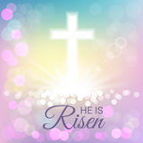 Shining with He is risen text for Easter day. Bright and shining with He is risen text for Easter day Royalty Free Stock Photos