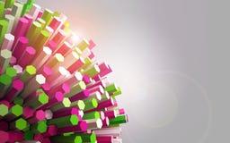 Shining round of hexagons geometry. Royalty Free Stock Image
