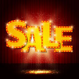 Shining sale on red curtain Royalty Free Stock Image