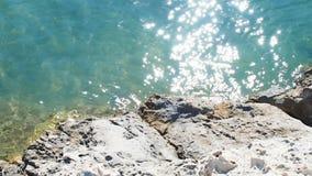 Shining sea and rocks. Nature stock footage