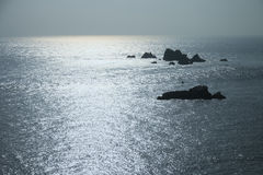Shining sea view with reefs blue Water Surface Stock Image