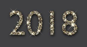 New Year background with silver 2018. Shining silver 2018 New Year figures on grey background. Vector illustration Stock Photo