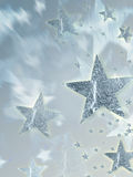 Shining silver stars with radiance Stock Photos