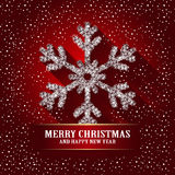 Shining Snowflake on the red background. Winter Christmas Design greeting card. Vector illustration Stock Photos