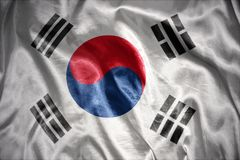 Shining south korea flag. Waving and shining south korea flag stock photo