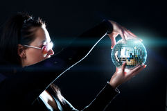 Shining sphere and girl royalty free stock image
