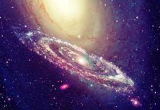 Shining spiral galaxy stock images