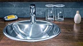 A shining stainless sink Royalty Free Stock Image