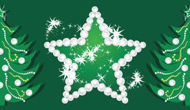 Shining Star And Christmas Trees On The Dark Green Royalty Free Stock Photography