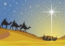 Shining star of Bethlehem. Classic three magic scene and shining star of Bethlehem Royalty Free Stock Images