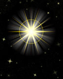 Shining star flare night sky Stock Photography