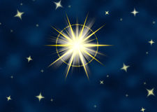 Shining star flare night sky. Great big star flare or shining christmas star Stock Images