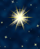 Shining star flare night sky Stock Photos