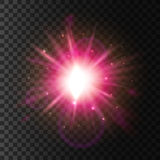 Shining star light. Lens flare sparkling effect Stock Images