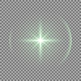 Shining star with a glare, green color vector illustration