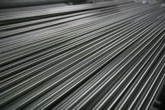 Shining Steel Pipes. Perspective of small steel pipes stock images