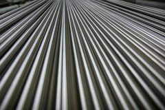 Shining Steel Pipes. Horizontal view of small steel pipes stock photos
