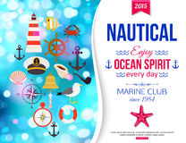 Shining summer nautical typographical background with place for text. Vector illustration Stock Photos