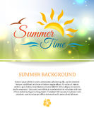 Shining summer paradise holidays background with. Blurred bokeh lights and place for text. Vector illustration stock illustration