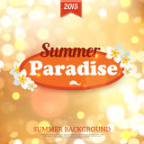 Shining summer paradise typographical background. With blurred bokeh lights and place for text. Vector illustration vector illustration