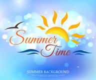 Shining summer time typographical background with. Blurred bokeh lights and place for text. Vector illustration vector illustration