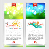Shining summer typographical banners with blurred. Bokeh lights and place for text. Vector illustration royalty free illustration