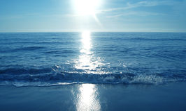 Shining sun above the sea panoramic view Stock Image