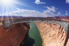 Shining sun on the bridge. Over the Colorado River Royalty Free Stock Photo