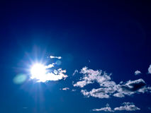 Shining sun & a bright blu sky. A beautiful sunny sky with some little clouds stock image