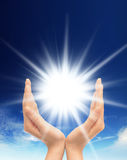 Shining sun at clear blue sky with copy space Royalty Free Stock Images
