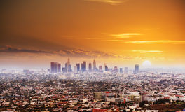 Shining sun over Los Angeles at sunset. California Stock Image