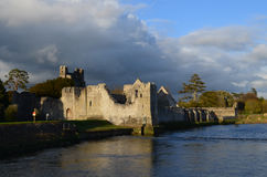 Shining Sun on the Ruins of Desmond Castle in Ireland Stock Photography