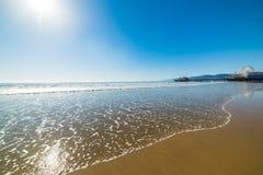 Shining sun in Santa Monica beach Stock Images