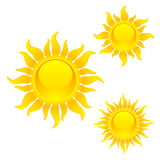 Shining sun symbols Royalty Free Stock Image