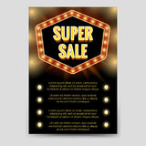 Shining super sale brochure flyer template Royalty Free Stock Image