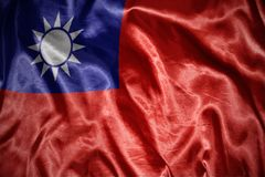 Shining taiwan flag. Waving and shining taiwan flag royalty free stock photography
