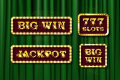 Shining text Jackpot, Big Win and 777 slots. Icons for casino, slots, roulette and game UI. On a background of green curtain. Vector illustration vector illustration