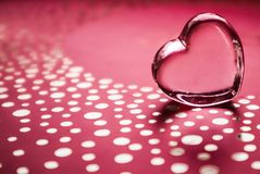Shining transparent heart. Perfect Valentine`s Day greeting card background. Horizontal image in pink tone.  stock images