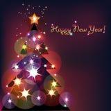 Shining tree. Festive background with shining Christmas tree Stock Image