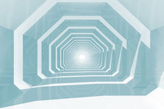Shining tunnel perspective, 3d render illustration. Abstract blue toned computer graphic background with empty shining tunnel perspective, 3d render illustration royalty free illustration