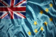 Shining tuvalu flag. Waving and shining tuvalu flag Royalty Free Stock Images